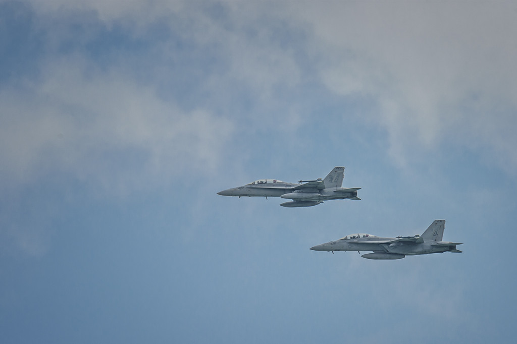 F/A-18 Hornets circling round to land at NAS Key West